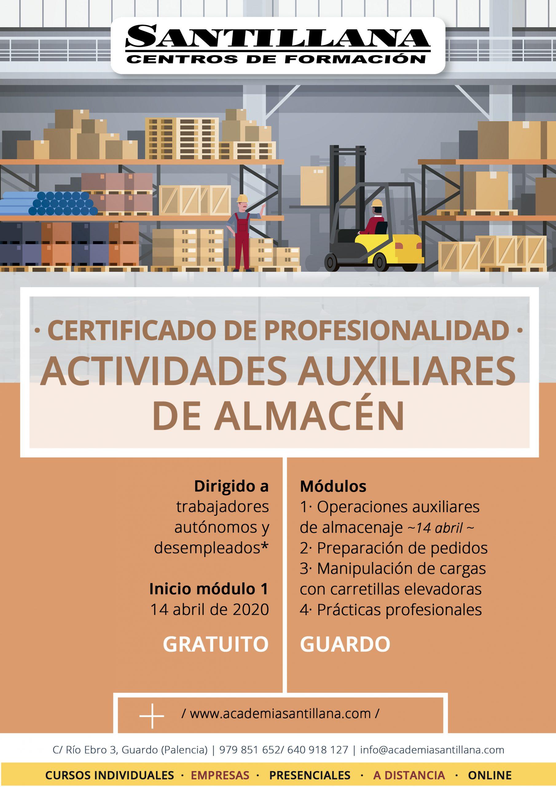 Certificado Profesionalidad Actividades Auxiliares de Almacén Gratuito Santillana Formación